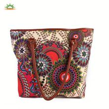 Ladies Handbag Style Floral Canvas Shoulder Tote Bag with Leather Handle