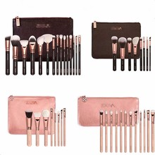 Good 15pcs make up brushes free samples custom rose gold black wooden synthetic hair cosmetic makeup brush set