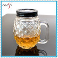 Bulk Embossed Mason Jar Drinking Glass With Handle Used Juice Beer
