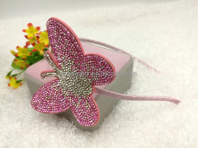 China wholesale shiny rhinestone butterfly headband