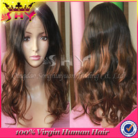Fashion Ombre Body Wave Unprocessed Human Virgin European Hair Wig