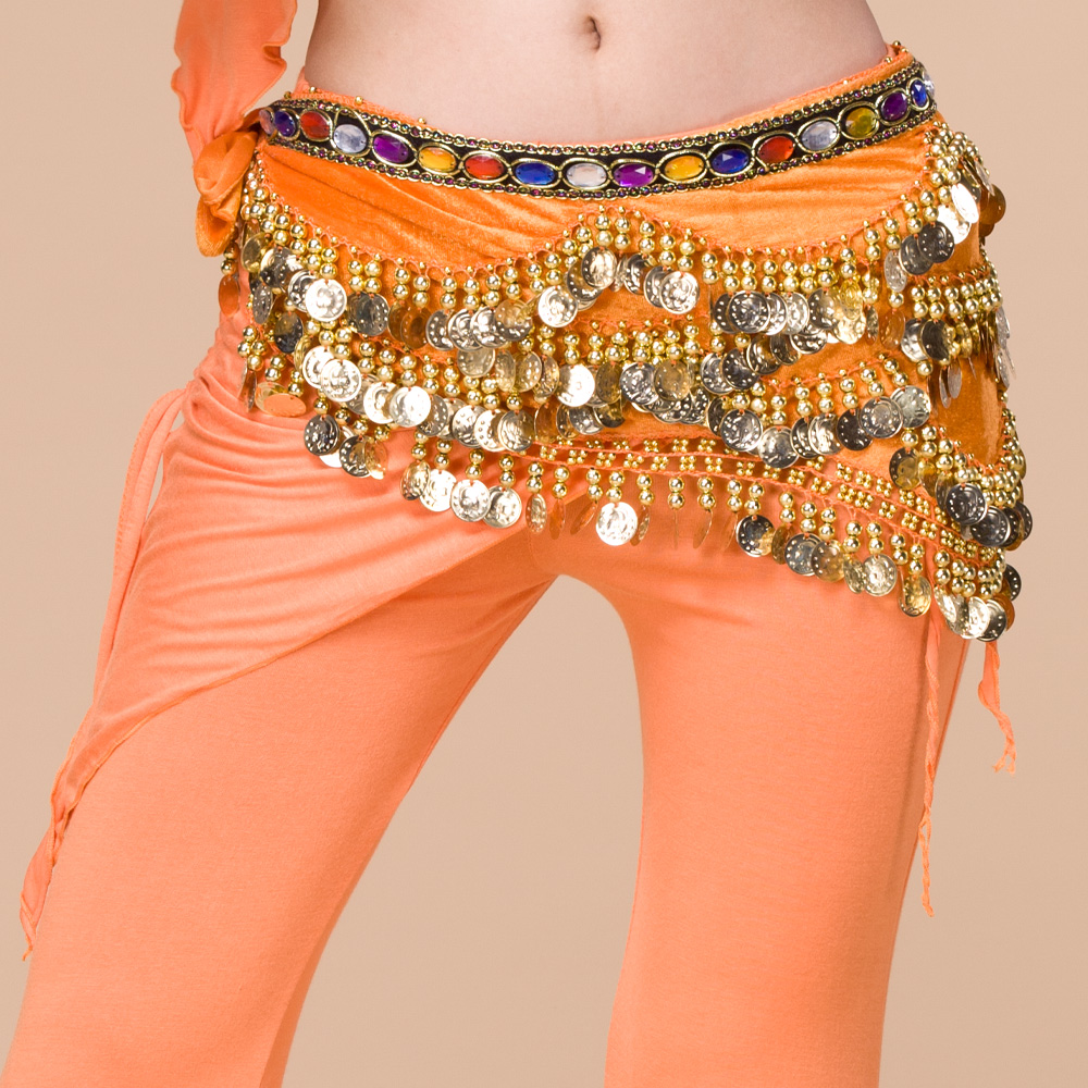 Y-2034 Online shopping tribal gold coins belly dance hip scarf with various color