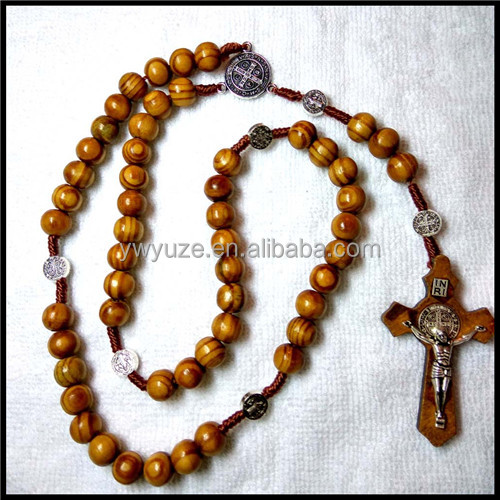 YUZE Sale Catholic Prary Benedict Rosary 7*8mm Wooden Beads Necklace