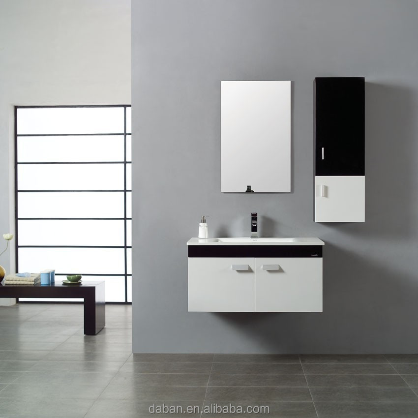 high gloss lacquered bathroom cabinet with mirror and