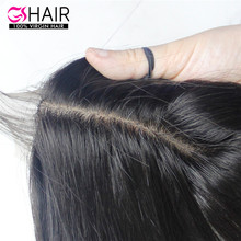 Factory wholesale silky stright peruvian virgin hair extensions silk base top closure