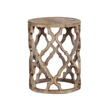 Antique Wooden Carved Round Quatrefoil Side Table Living Room <strong>Furniture</strong>
