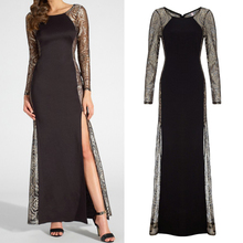 OEM service hollow out lace long sleeve evening dresses chinese style