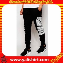 OEM professional cheap skinny drawstring waist soft 100%cotton french terry side print custom joggers