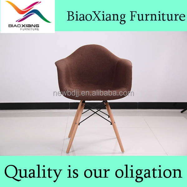 good quality fabric seat and back wood legs dining chair
