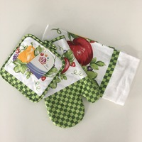 100%cotton Printed Potholder Oven mitt and Kitchen Towel 3pcs Kitchen Set