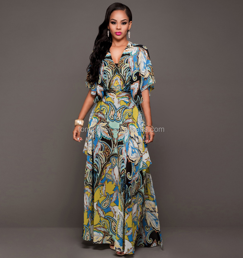 Long Maxi Chiffon Designs Traditional African Print Dress For Women