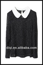 latest black lace blouses 2013 new design for ladies blank black white collar lace top