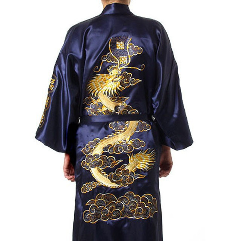 MOON BUNNY Navy Blue Chinese Men's Satin Silk Robe Embroidery Kimono Bath Gown Dragon Size S M L L L L S0008