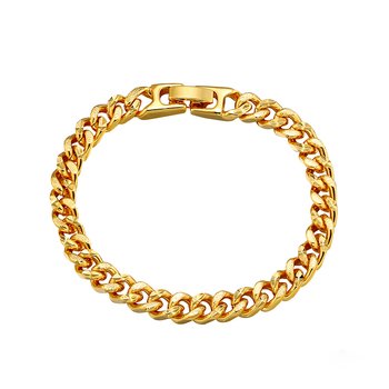Xuping hot sale fashion 24k gold plated bracelet , gold miami cuban link chain bracelets jewelry