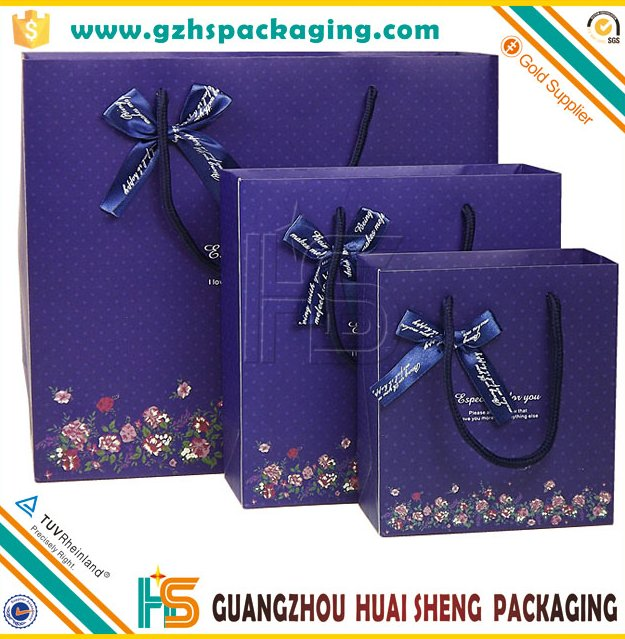 2016 wholesale decorative luxury recyclable fashion gift paper bags with your own logo