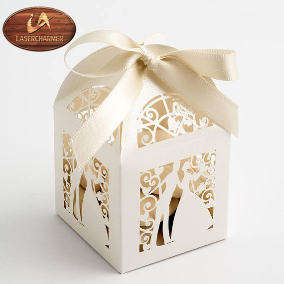 Ivory Filigree Gift, Laser Cut Favor case, Rustic Candy box, Wedding table decor,chocolate packing
