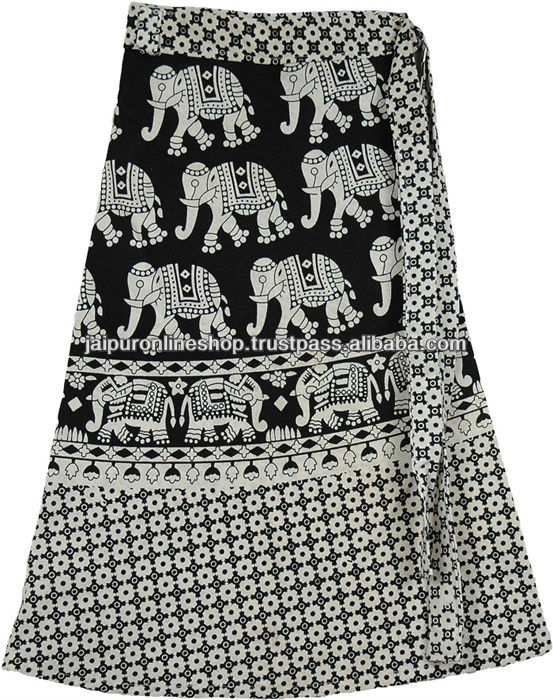 Wrap Skirt Spring Summer Elephant Printed Cotton Sarang Skirts