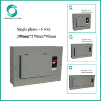 XEM Single phase 6 way electrical metal distribution box distribution board