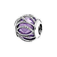 jd jewelry Charming pure silver beads Purple beads fit Pandora pinterwoven brilliant S925 silver bracelet beads