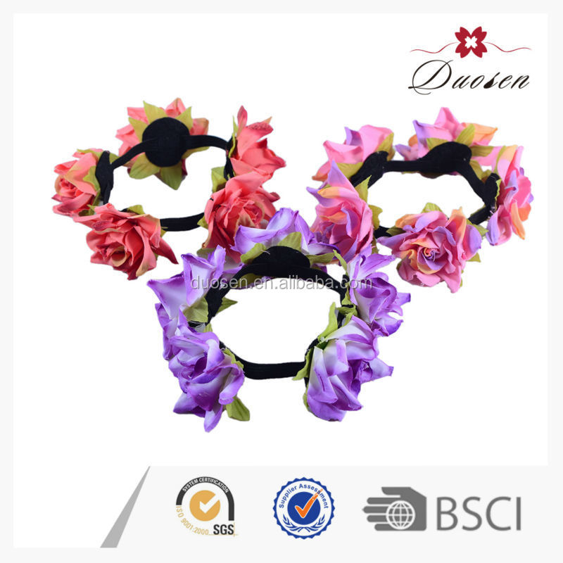 Newest Elastic with dyeing artificial flower topknot ,flower scrunchy