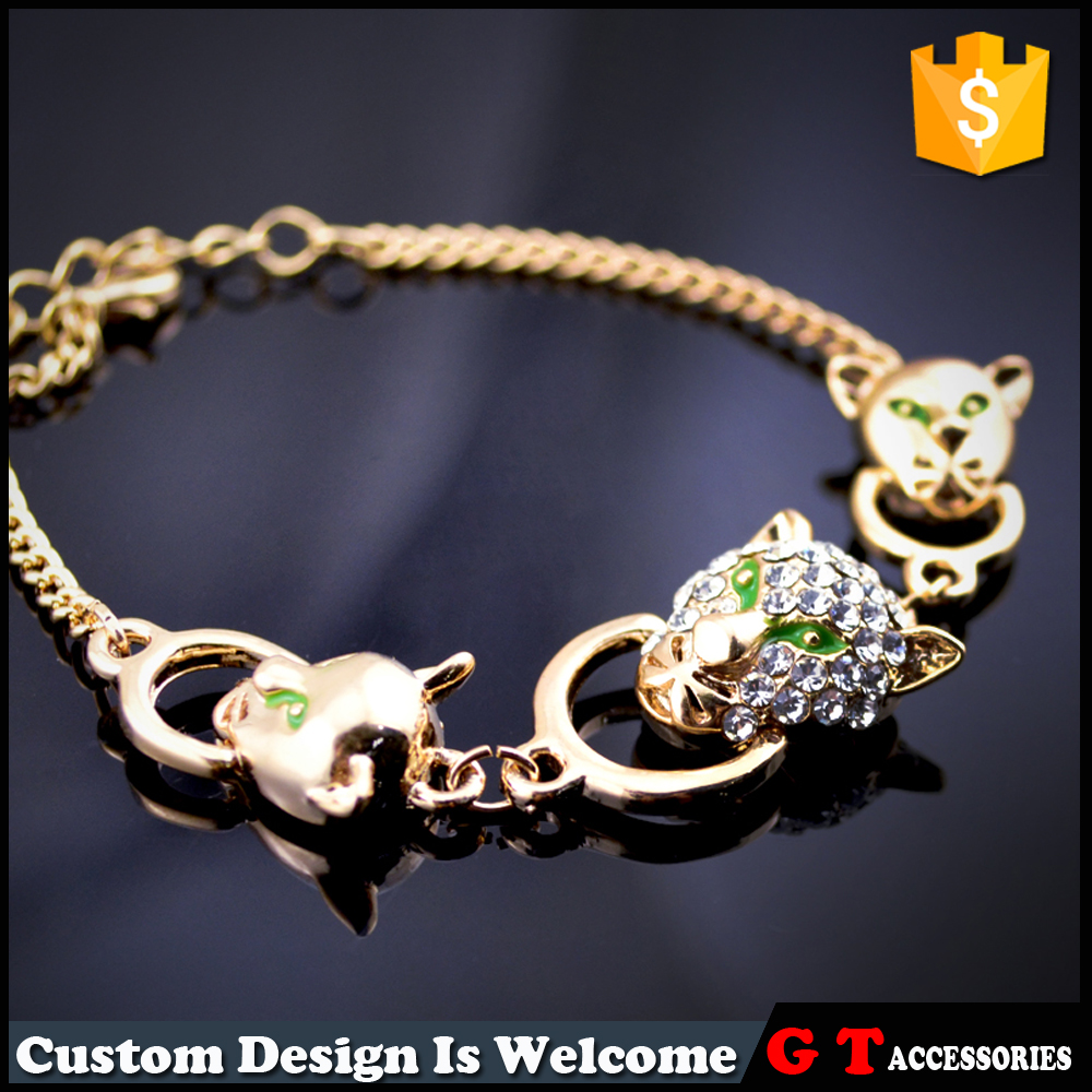 Hot selling green oil drop leopard head chain bracelet with diamond <strong>stone</strong>