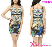 2013 New Women's Digital Print Dress Church Ceremony Package Hip Casual Dress
