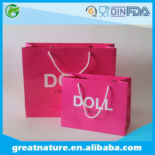 Glossy laminated paper bags, reusable shopping bags