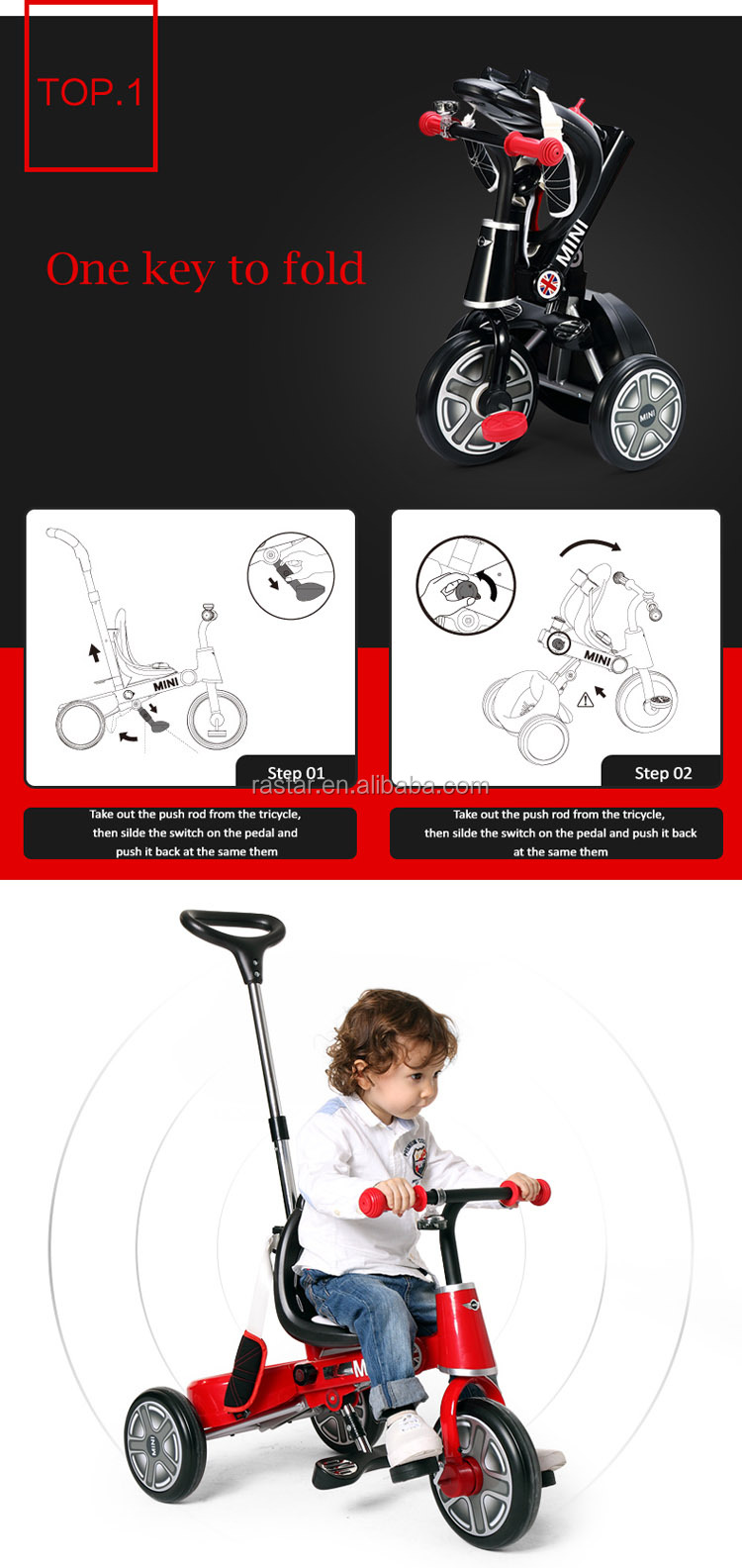 Rastar kid ride bike MINI COOPER 4 in 1 baby tricycle