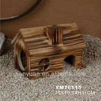small animal nature smoked wooden house &cage &home