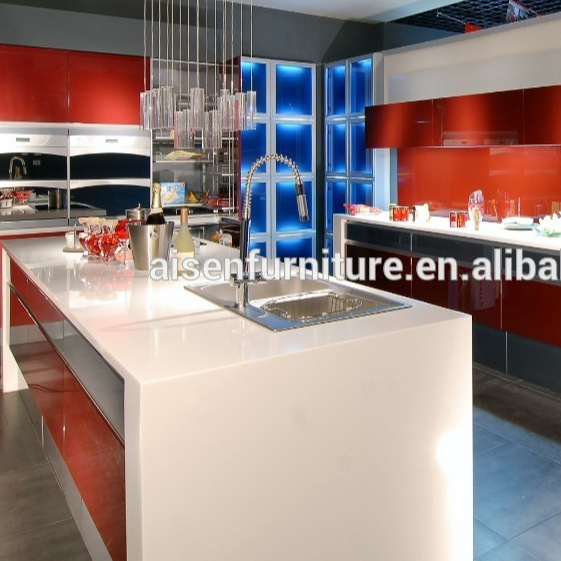 Chinese modem colorful high gloss lacquer kitchen cabinet with all accessories