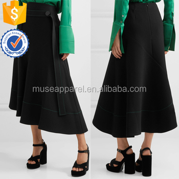 Black Belted Asymmetric Crepe Midi Skirt OEM/ODM Women Apparel Wholesaler China Alibaba