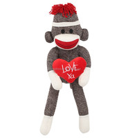 Hot sale big mouths Valentine day custom knitted sock monkey plush toys with red heart love ya