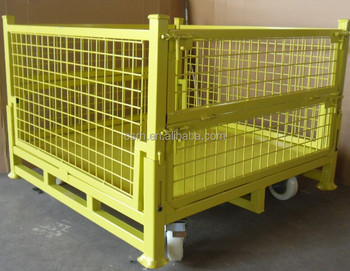 RH-C02-wheel 1100*1100*740mm yellow movable fold able storage cage metal storage cages with wheels