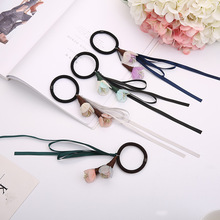 Wholesale Lovely Elastic Hair Band with silk ribbons and flowers for Sexy Girls Hair Ring Hair Accessory