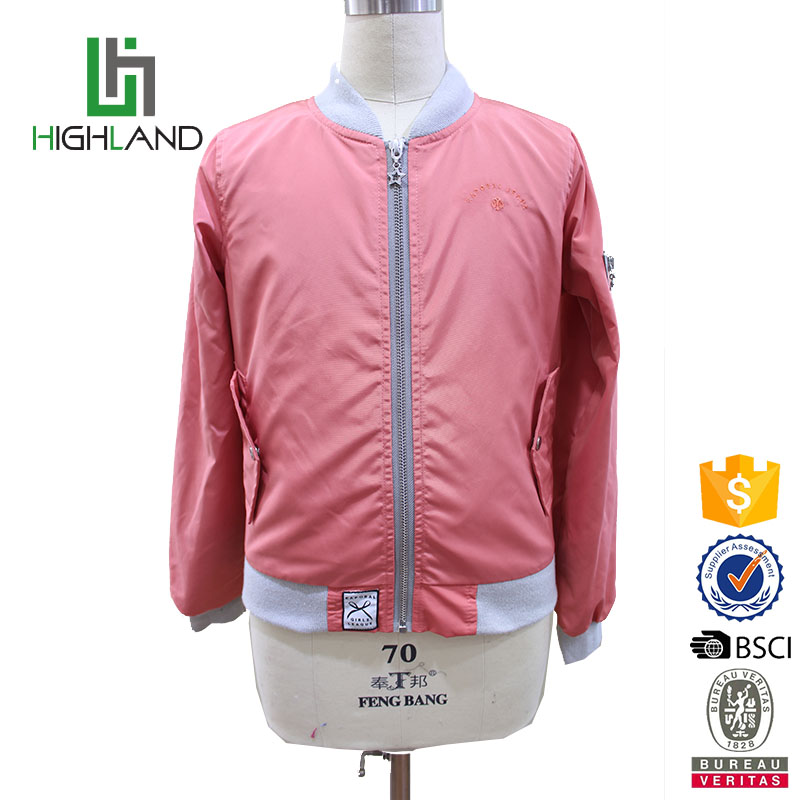 fashion children bomber jacket for girls jacket 100% polyester jacket