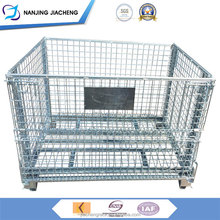 Warehouse Big Roll Metal Lockable Portable Folded Wire Container Equipment Steel Storage Cage With 4 Wheels