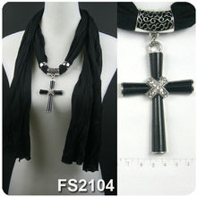 Religious jewelry scarf with cross pendant