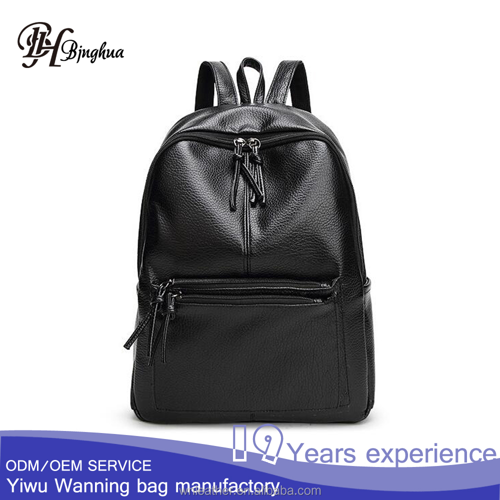 AL-052-1 Unisex generous Daily school bags cheap Black soft leather <strong>backpack</strong> for boy and girl