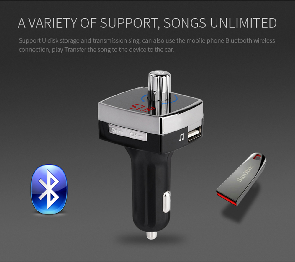 Handsfree Dual Ports USB Portable Bluetooth Car charger