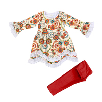Hot cute girl high quality boutique clothes lace side skirt tops newborn baby girl outfit