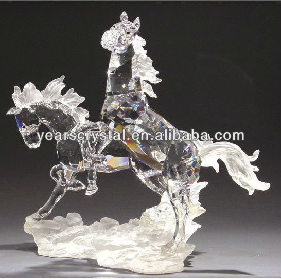 china supply shining Crystal Running Horse figure with frosted crystal for home decor(R-2121