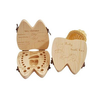 Custom Tooth Shape Baby Mlik Teeth Storage Box Wooden Baby Tooth Box
