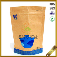 2016 new matt printing kraft paper zip lock tea bag packing price