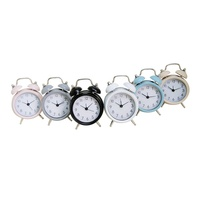 cheaper wholesale desktop promotional gifts multi-color real metal two bell alarm clock table clock
