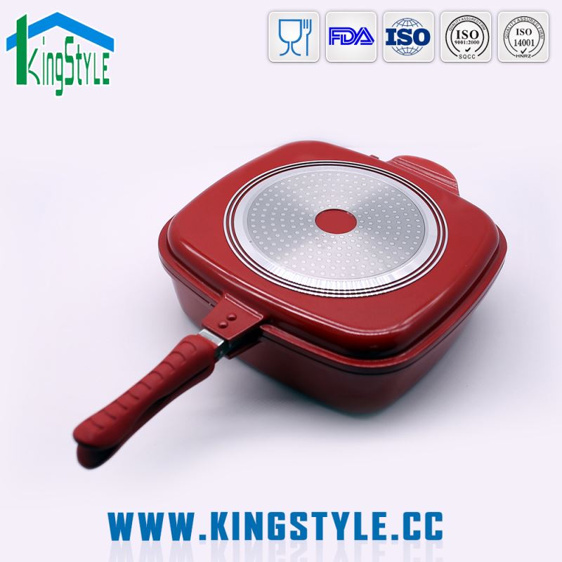 Rectangular non-stick divided frying pan