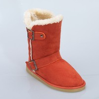 Orange color suede upper plush lining warm boots