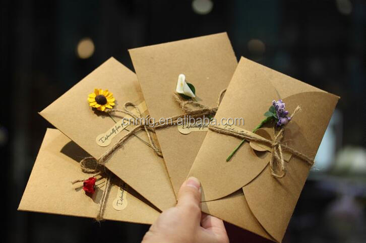 Customized printing dried flowers handmade decoration greeting card