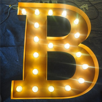 LED bulb light up metal marquee vintage sign letters for shop decoration