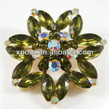 Large Olive Green And AB Crystal Setting Flower And 18K Gold Plated Brooches