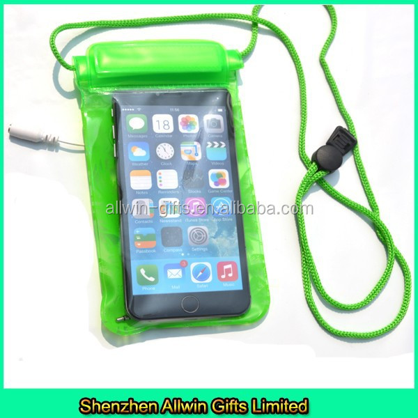 Cheap green waterprof mobile phone bag for earphone